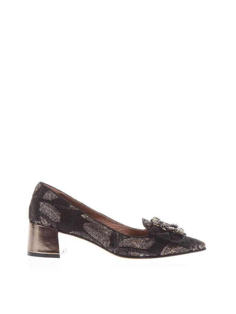 Ras Tapestry Loafers With Jewel - Black