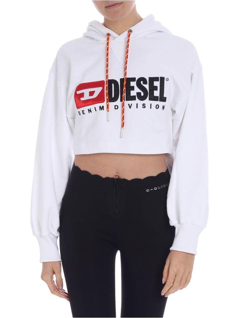 Diesel Cropped Hoodie - White