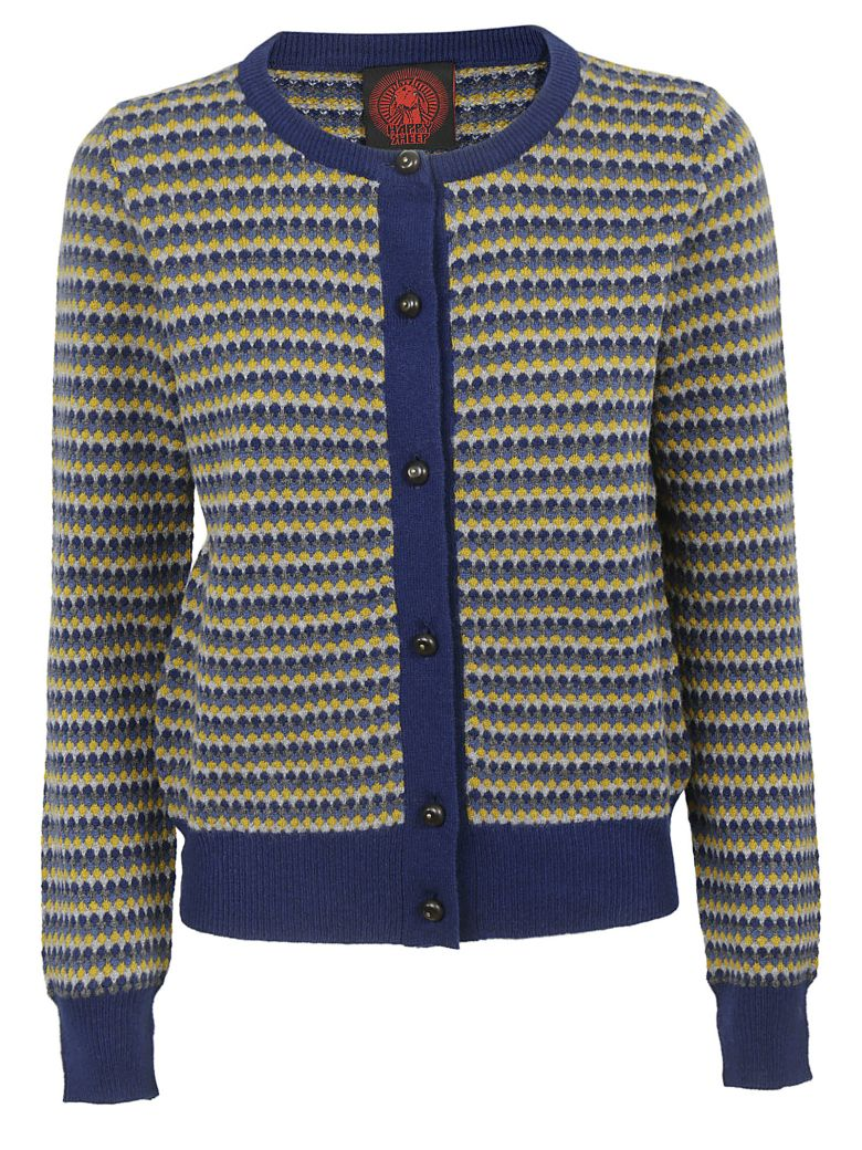 Happy Sheep Patterned Cardigan - Fantasy blue