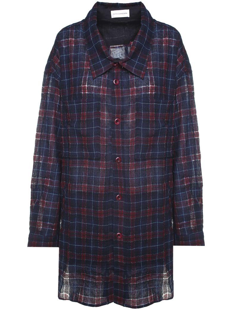 Faith Connexion Check-print Wool-blend Oversized Shirt - Bordeaux