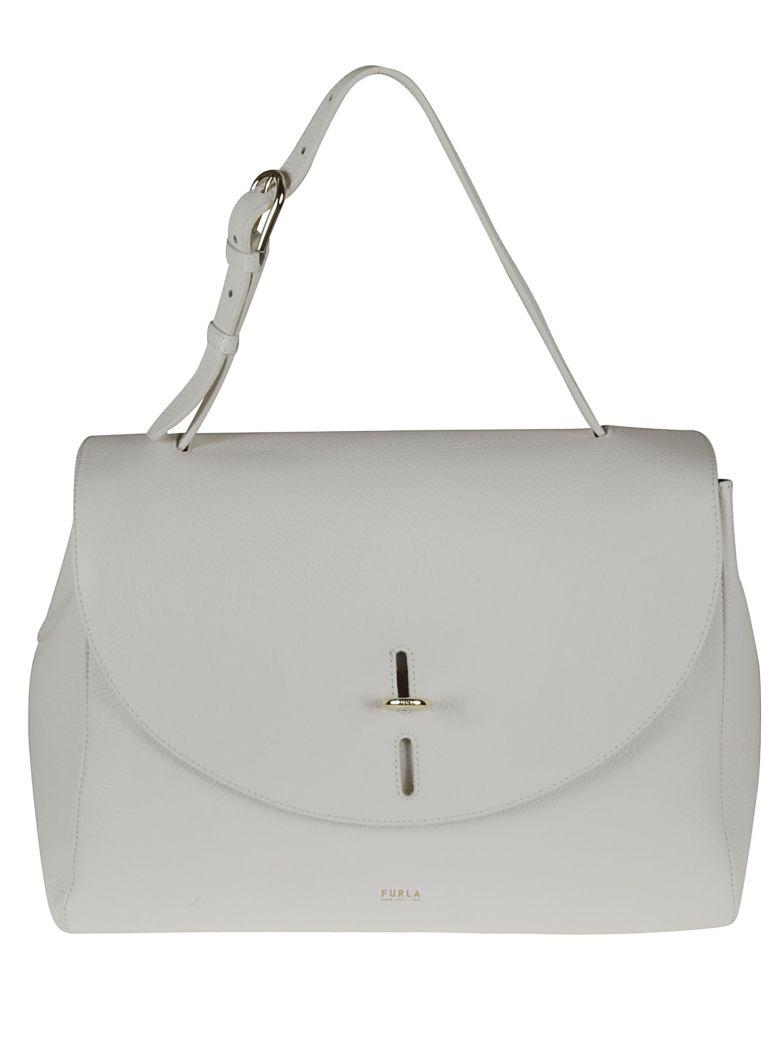 Furla Leather Flap Shoulder Bag - talc