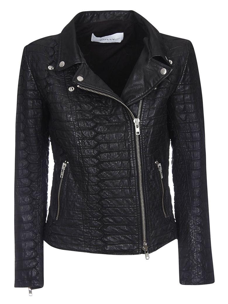 Bully Croco Zipped Leather Jacket - Black