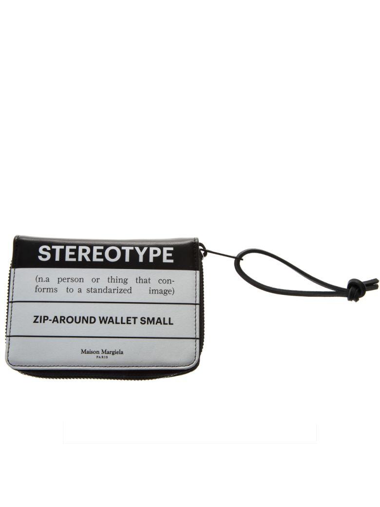 Maison Margiela Two Color Bi-fold Leather Cardfolder - Black/white