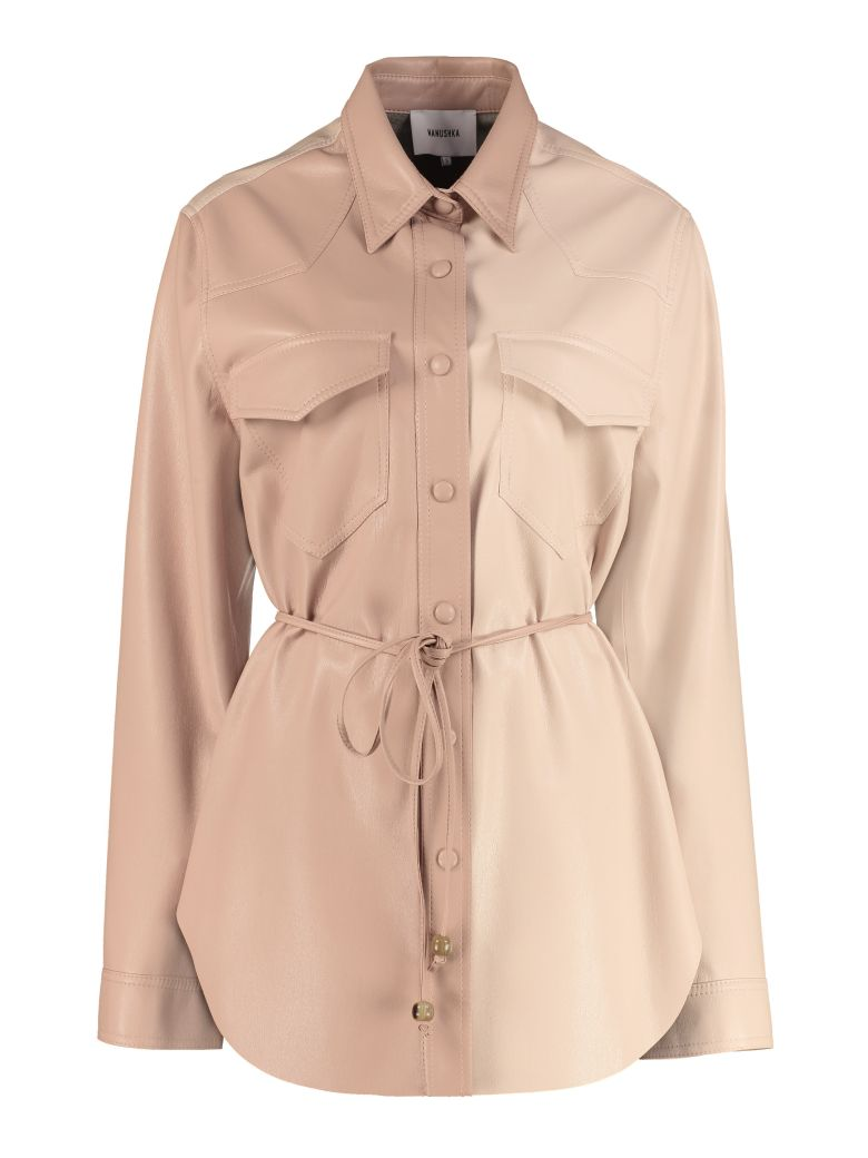 Nanushka Faux Leather Overshirt - Pink