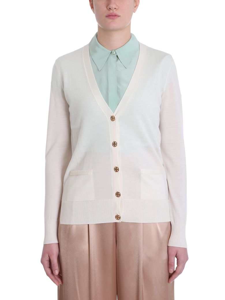 Tory Burch Madeline Powder Merino Wool Cardigan - powder