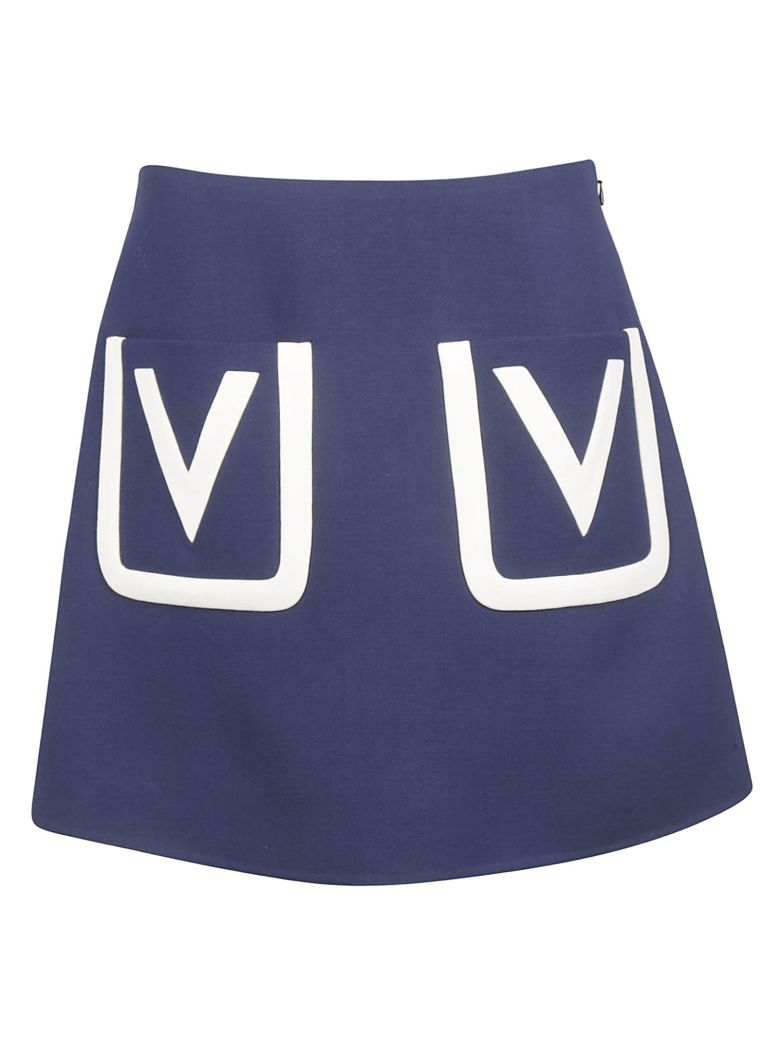 Valentino V Detail Skirt - Pure Blue Ivory