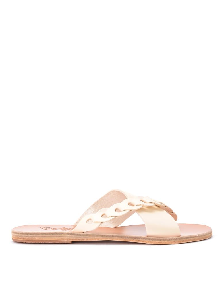Ancient Greek Sandals Thais Links Ivory Leather Vowen Sandal. - BIANCO