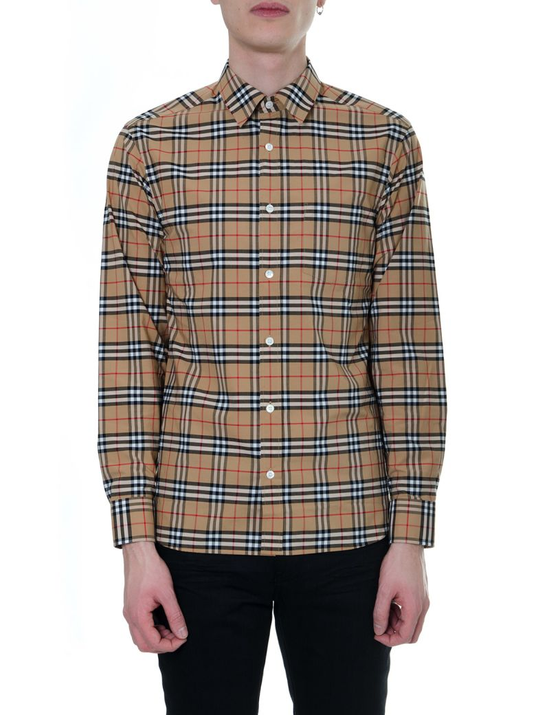 Burberry Checked Camel Cotton Shirt - Camel