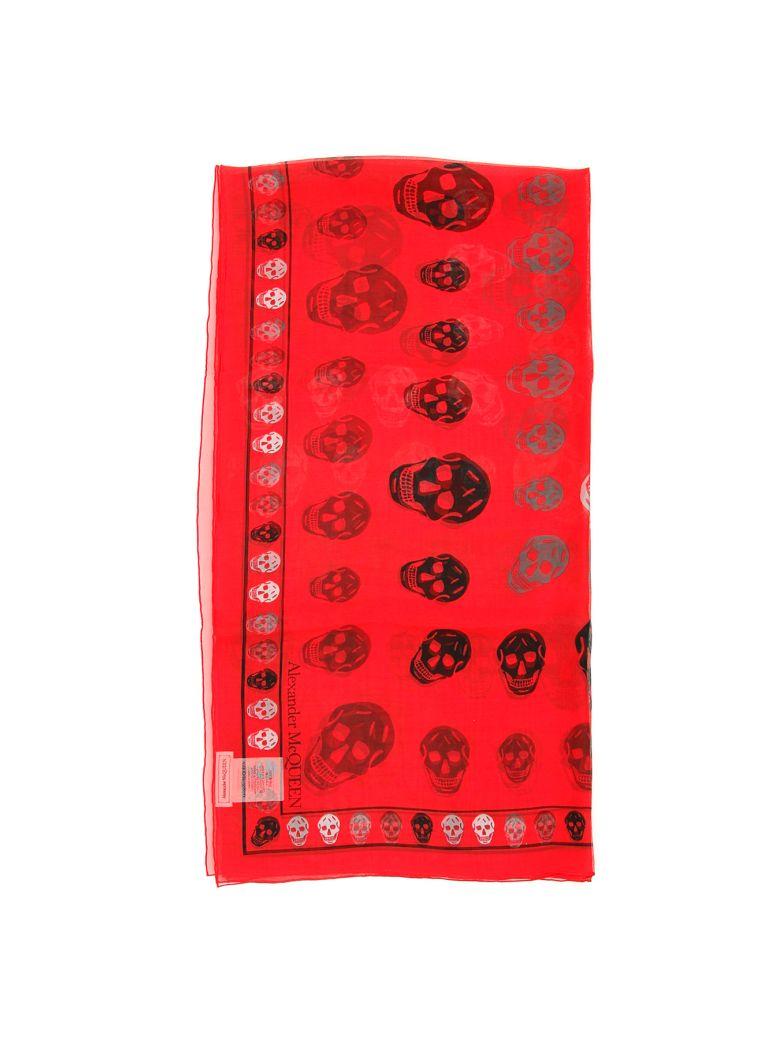 Alexander McQueen Silk Skull Scarf - RED MEDIUM GREY (Red)