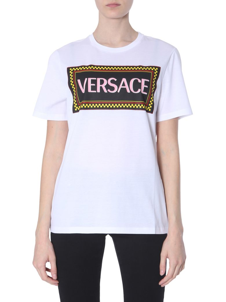Versace 90s Vintage Logo T-shirt With Wheeled Print - BIANCO