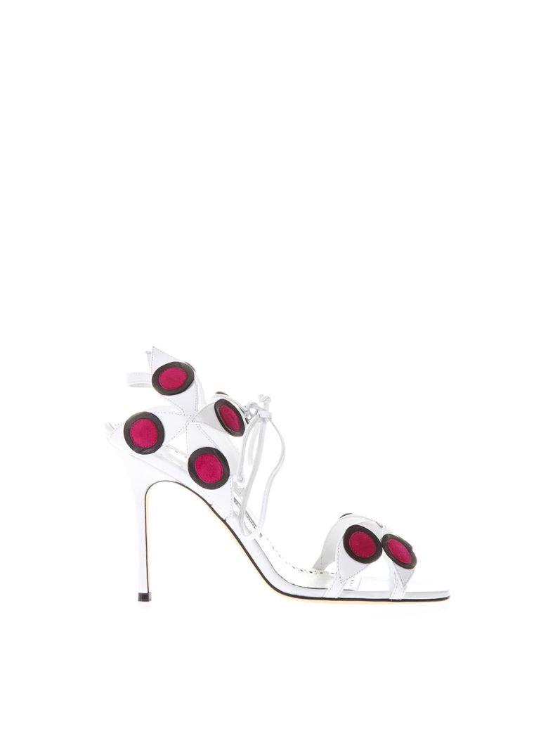 Manolo Blahnik Leather Mbole Sandals With Podka Dots Inserts - White/red
