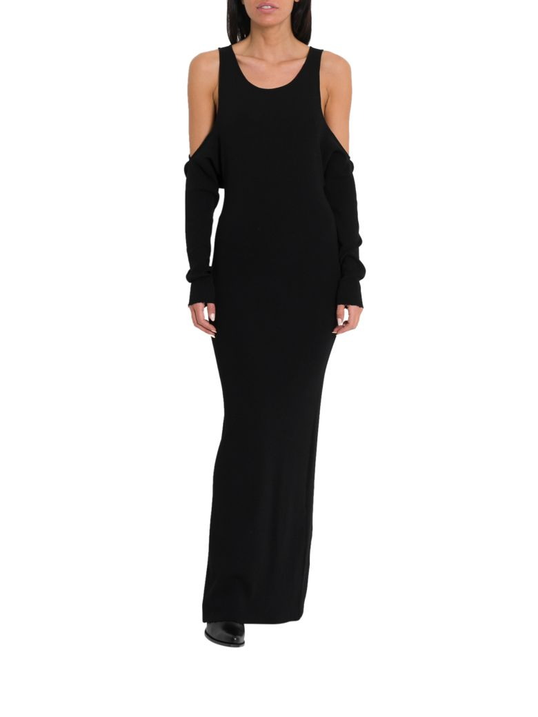 Ben Taverniti Unravel Project Long Knit Dress With Cut Out Droppped Sleeves - Black