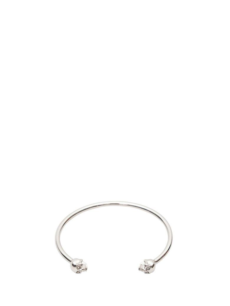 Alexander McQueen Skull Silver-tone Brass Bracelet - Argento