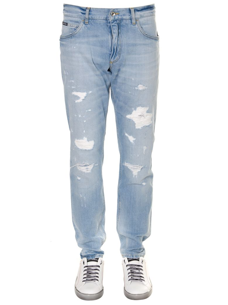 Dolce & Gabbana Cotton Denim Teared Jeans - Denim