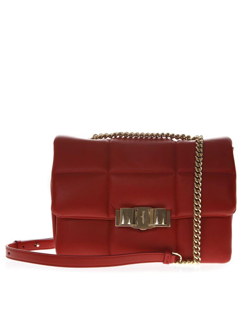 Salvatore Ferragamo Vara Soft Red Leather Shoulder Bag - Red