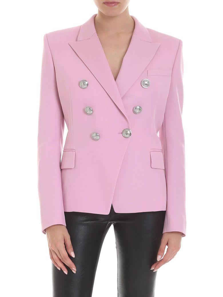 Balmain Pink Virgin Wool Blazer - Rosa