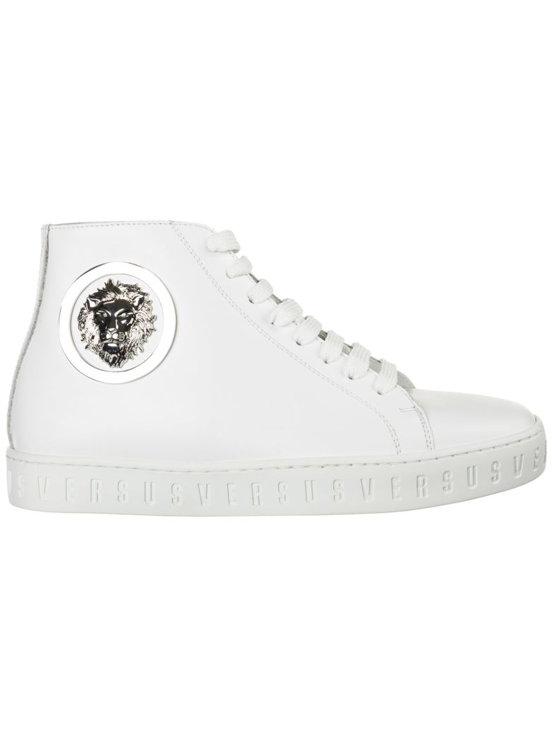 Versus Versace  Shoes High Top Leather Trainers Sneakers Lion Head - Bianco