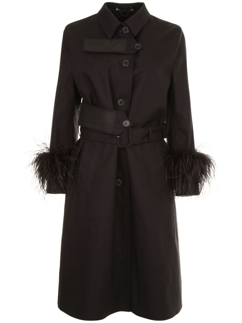 Prada Linea Rossa Trench With Feathers And Rubber Patch - NERO Nero