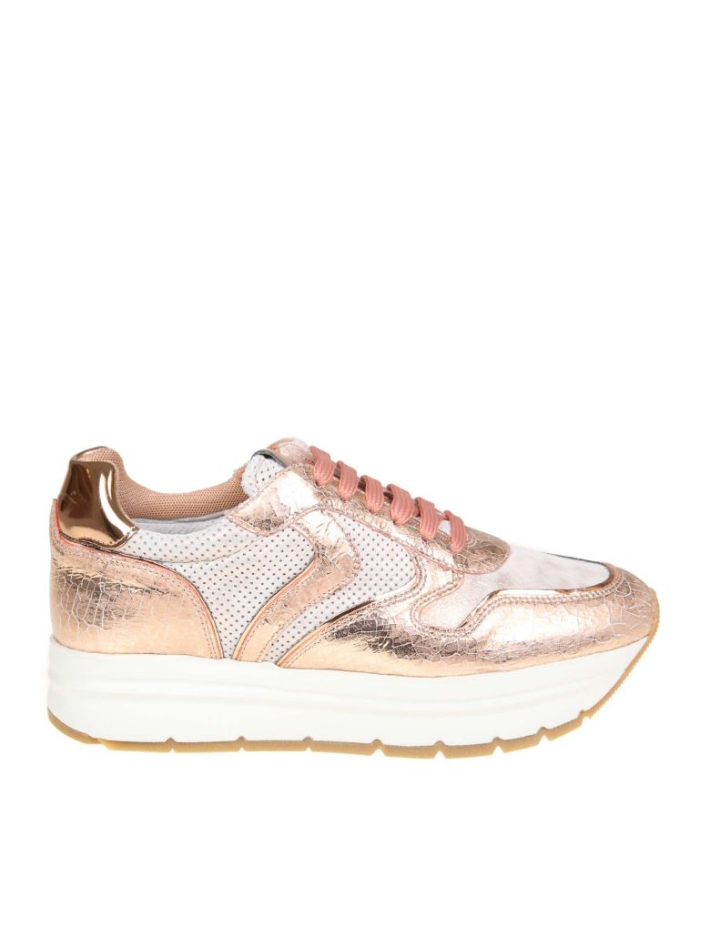 "Voile Blanche ""may"" Sneakers In Leather And Fabric Color Pink - Pink"