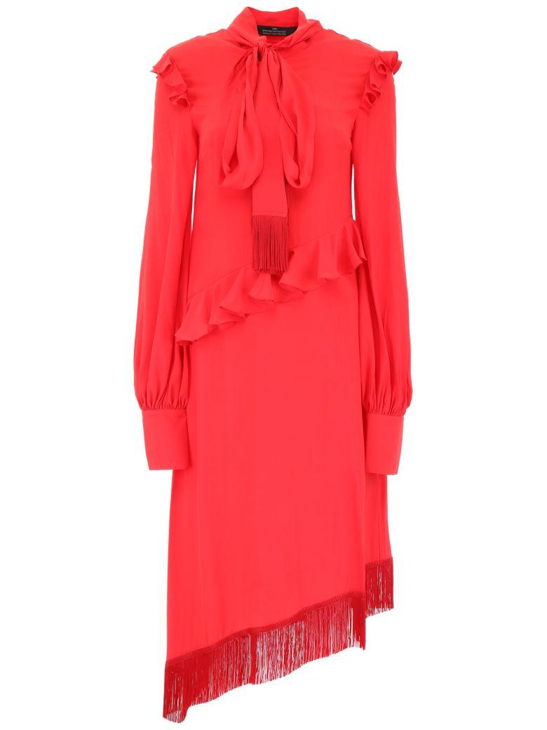 Rokh Asymmetric Ruffled Dress - RED (Red)
