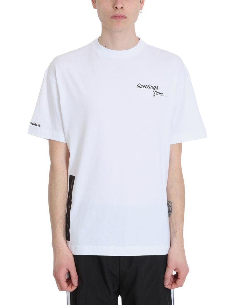 Palm Angels Greetings White Cotton T-shirt - White