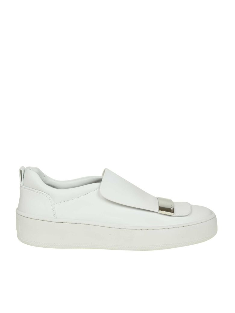 Sergio Rossi White Leather Sneakers With Applied Plate - WHITE