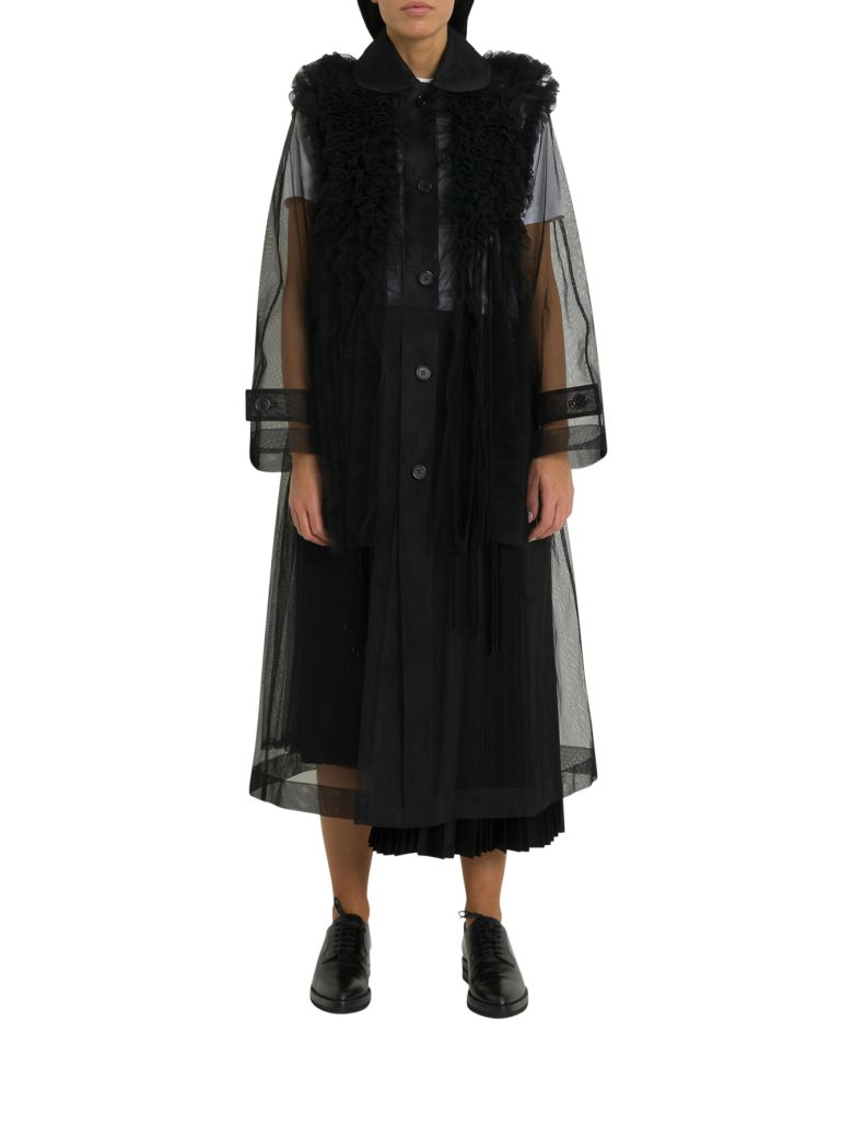 Noir Kei Ninomiya Oversized Ruffled Pleated Mesh Coat - Nero