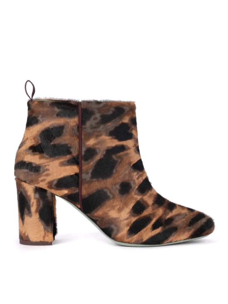 Paola D'Arcano Spotted Cow Hair Effect Leather Ankle Boots - Multicolor