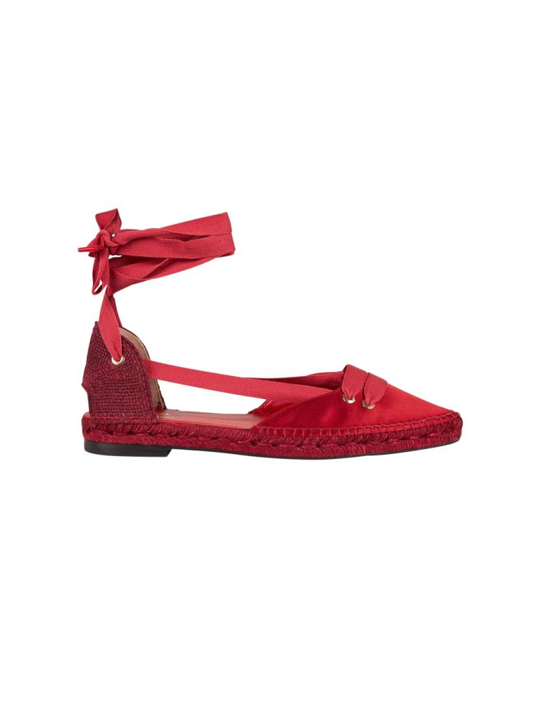 Castañer by Manolo Blahnik Castaner Medium Flat Satin Beribboned Espadrillas - Rossa