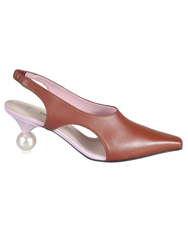 Yuul Yie Pointed Toe Slide-on Pumps - Marrone