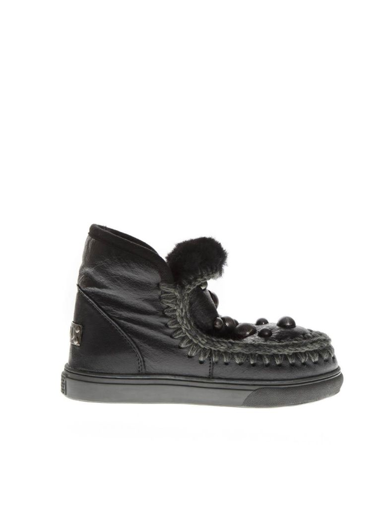Mou Black Mink Fur Studs Sneaker Boots - Black