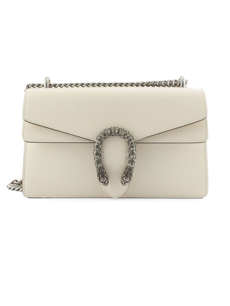 Gucci White Leather Dionysus Shoulder Bag - Panna