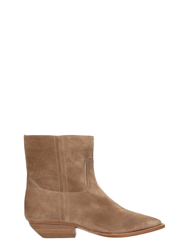 Julie Dee Safari Suede Leather Ankle Boots - beige