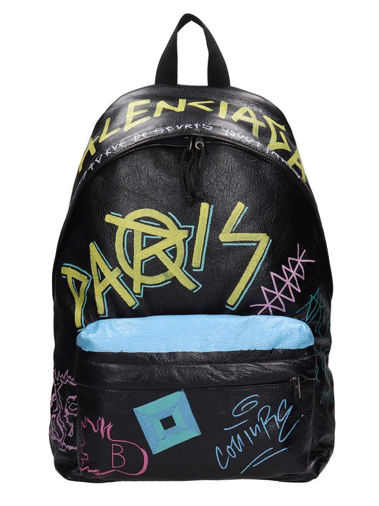 Balenciaga Black Leather Explorer Graffiti Backpack - black