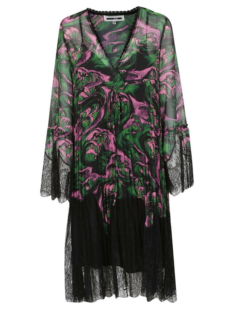 McQ Alexander McQueen Wave Print Dress - Pink/green