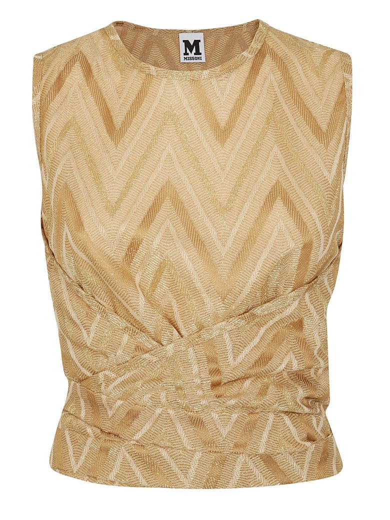 M Missoni Chevron Pattern Ruched Top - Gold