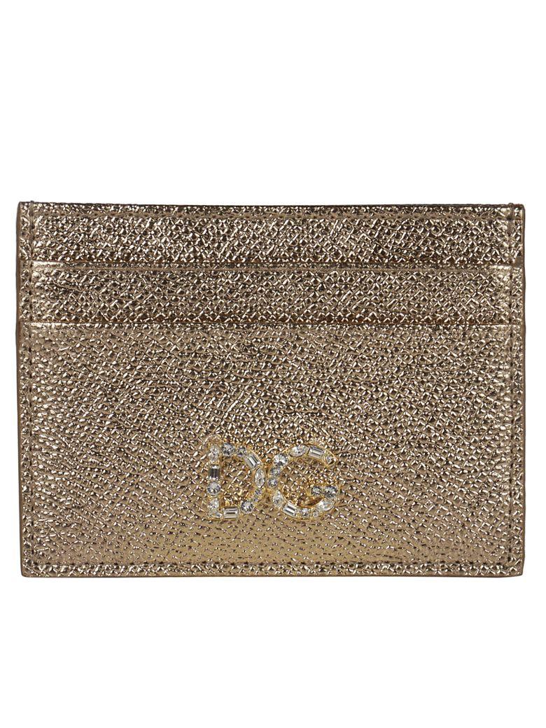 Dolce & Gabbana Embellished Dg Logo Card Slots - gold