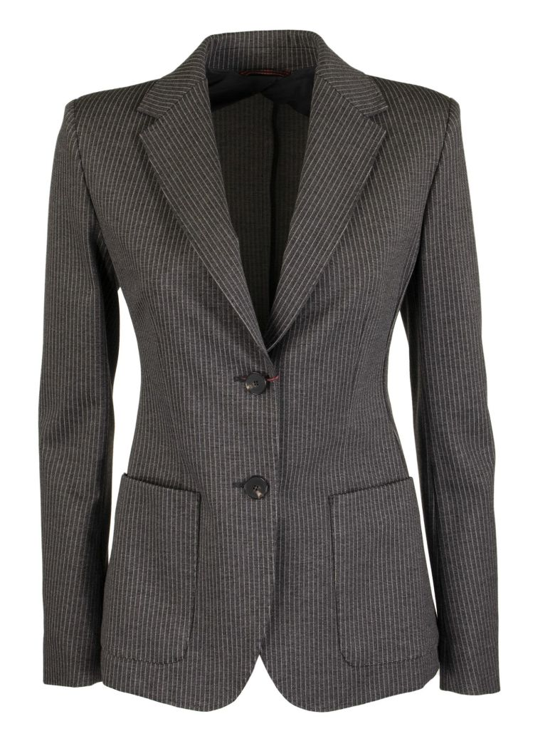 Max Mara Fosca Pinstripe Jacket In Viscose Jersey - Dark Grey