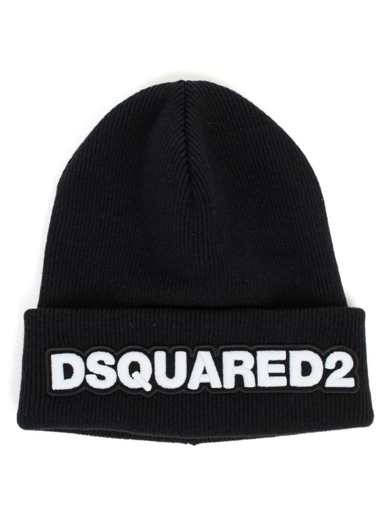 Dsquared2 Knit Hat Wool W/patch - Nero Bianco