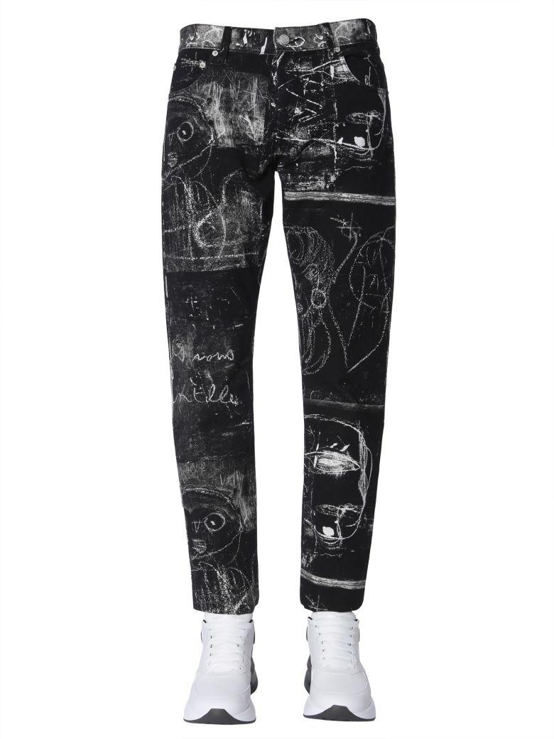Alexander McQueen Jeans With John Deakin Print - NERO