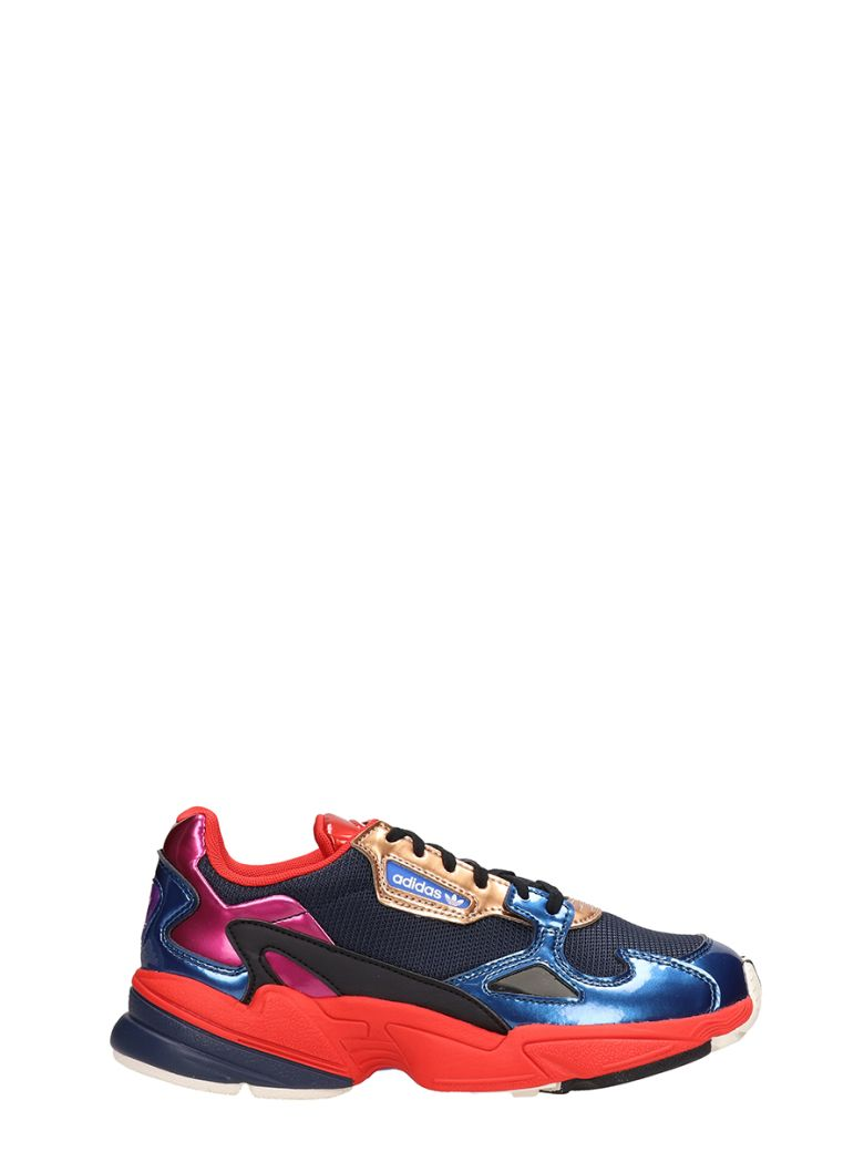 Adidas Falcon W Blue Orange Fabric Sneakers - blue