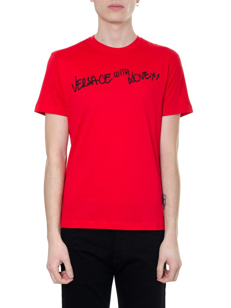 Versace Red T-shirt Versace With Love In Eco-sustainable Cotton - Red/black