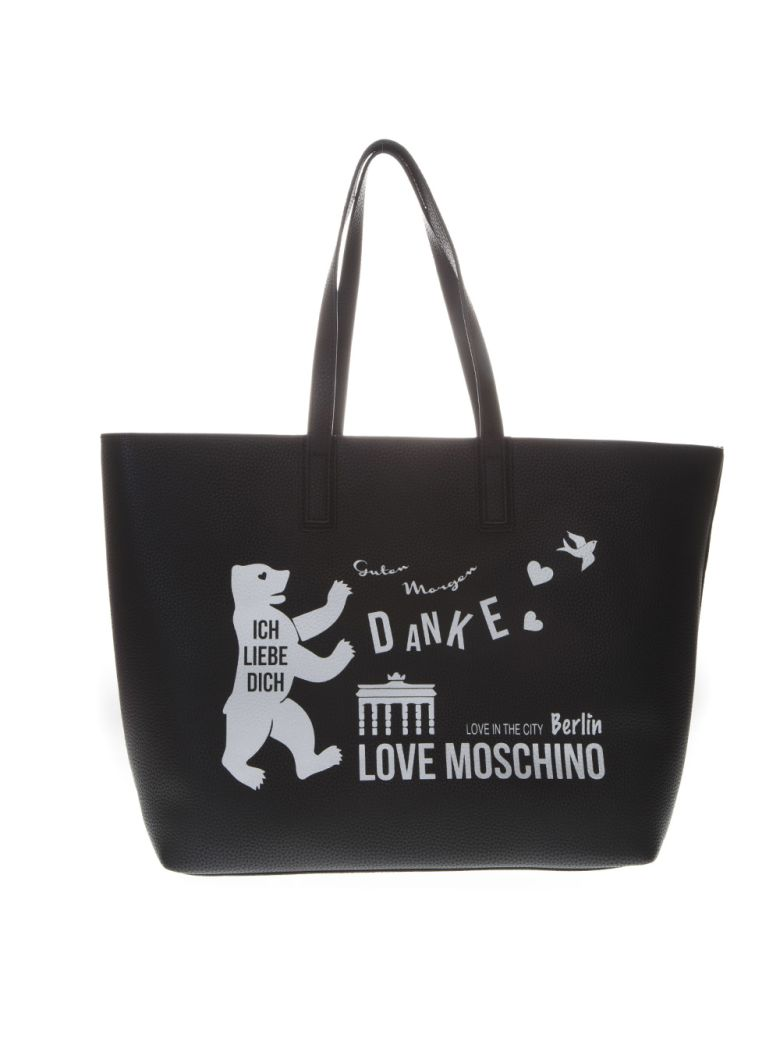 Love Moschino Faux Leather Tote Bag With Logo Print - Black