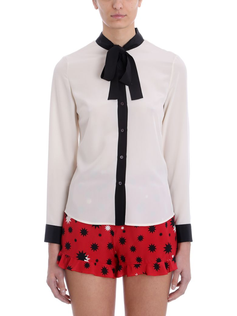 RED Valentino White Black Silk Shirt - white