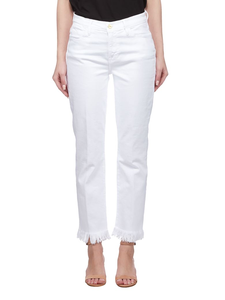 Frame Fringed Hem Jeans - Bianco