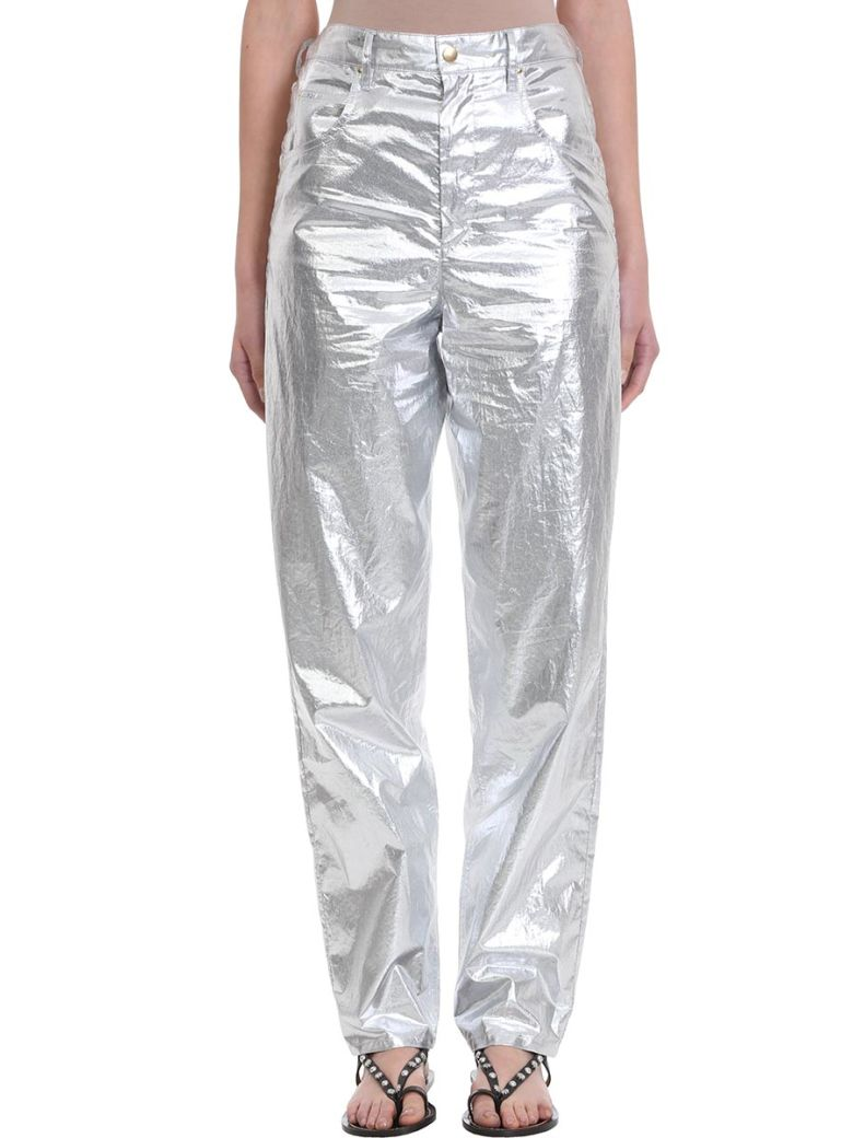 Isabel Marant Torsy Metallic Cotton Pants - silver