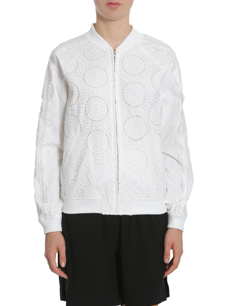 Opening Ceremony Anglaise Lace Bomber Jacket - White