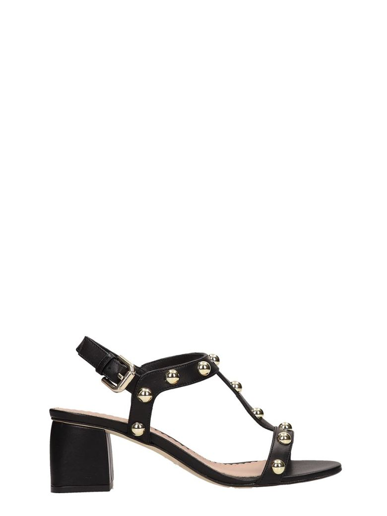Julie Dee Black Calf Leather Sandals - Black