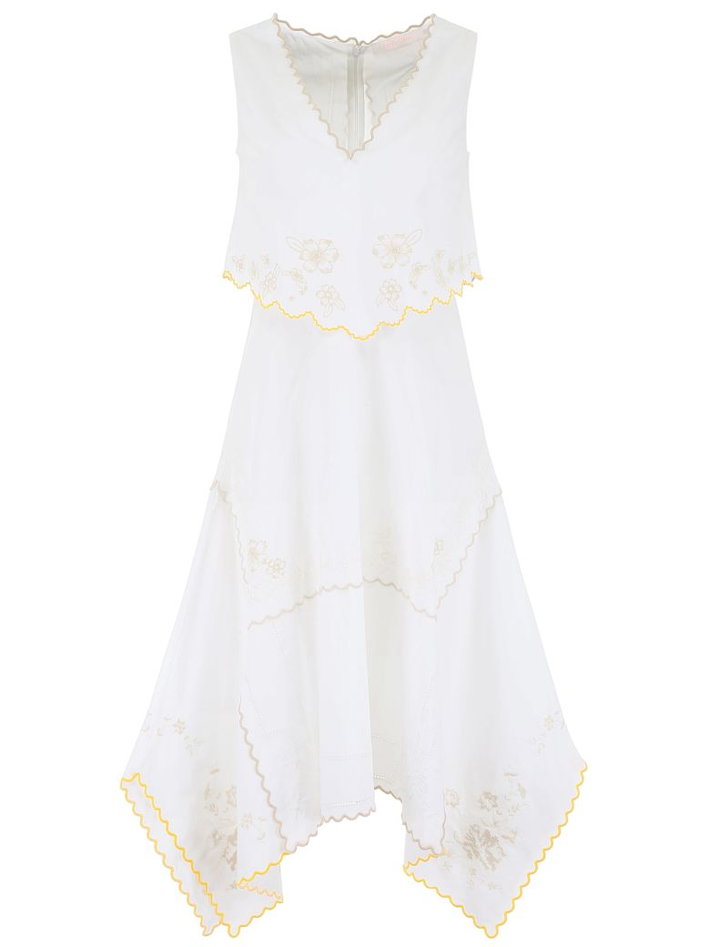 See by Chloé Floral-embroidered Dress - WHITE YELLOW (White)