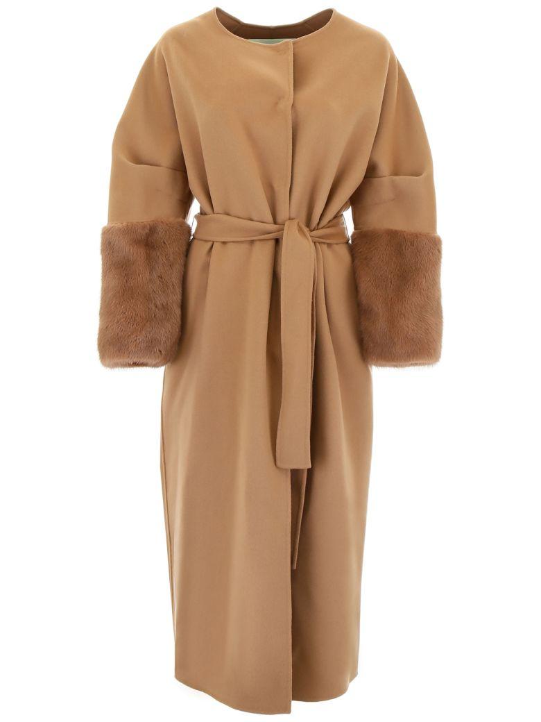 Ava Adore Wool And Mink Fur Coat - BEIGE (Beige)